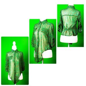 Mine green and brown printed blouse